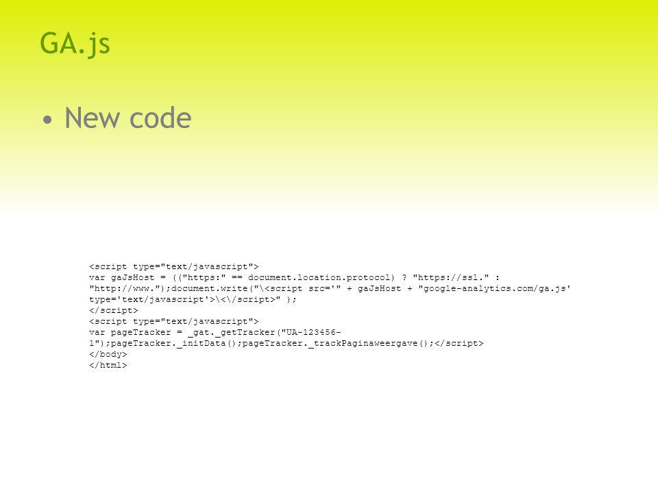 GA.js New code var gaJsHost = (( https: == document.location.protocol) .