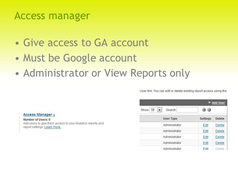 Access manager Give access to GA account Must be Google account Administrator or View Reports only