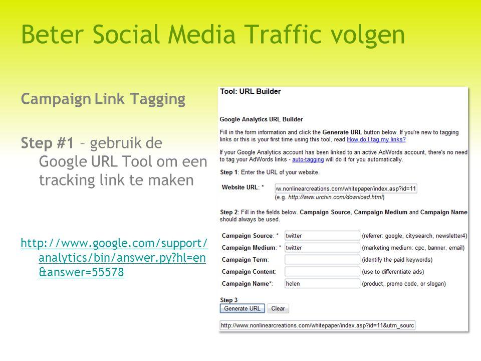 Beter Social Media Traffic volgen Campaign Link Tagging Step #1 – gebruik de Google URL Tool om een tracking link te maken http://www.google.com/support/ analytics/bin/answer.py?hl=en &answer=55578