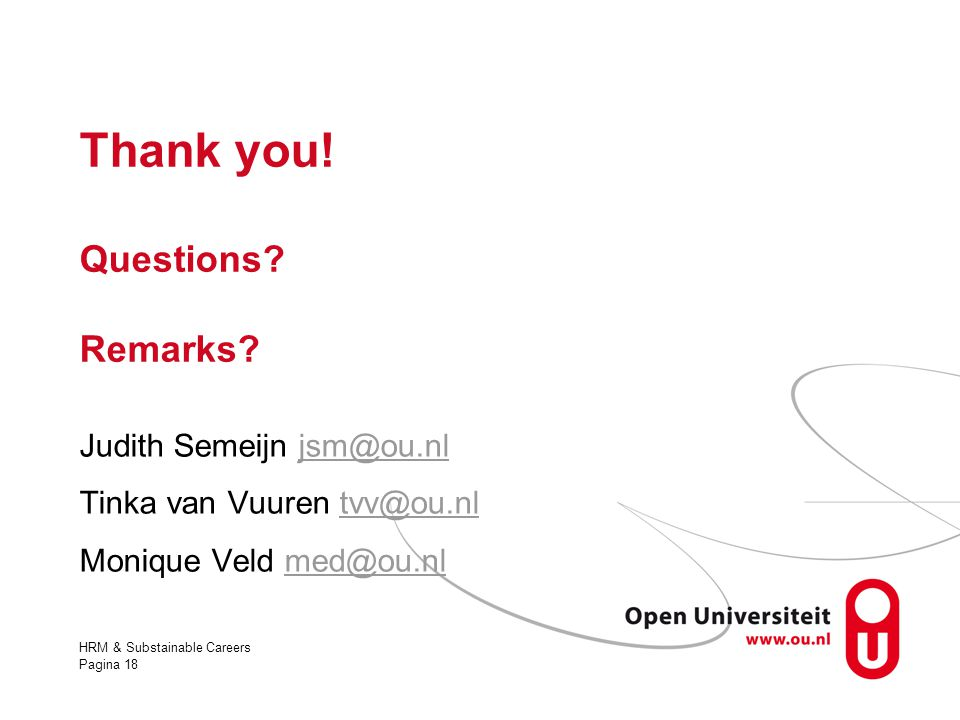HRM & Substainable Careers Pagina 18 Thank you! Questions? Remarks? Judith Semeijn jsm@ou.nljsm@ou.nl Tinka van Vuuren tvv@ou.nltvv@ou.nl Monique Veld