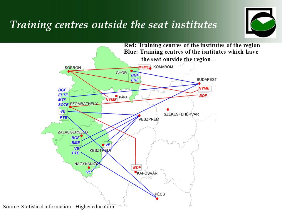 Training centres outside the seat institutes Source: Statistical information – Higher education Red: Training centres of the institutes of the region Blue: Training centres of the isntitutes which have the seat outside the region
