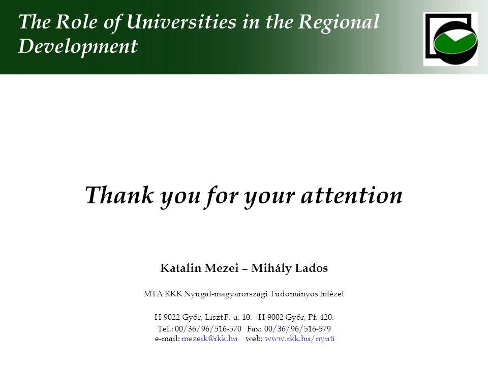 Thank you for your attention Katalin Mezei – Mihály Lados MTA RKK Nyugat-magyarországi Tudományos Intézet H-9022 Győr, Liszt F. u. 10. H-9002 Győr, Pf
