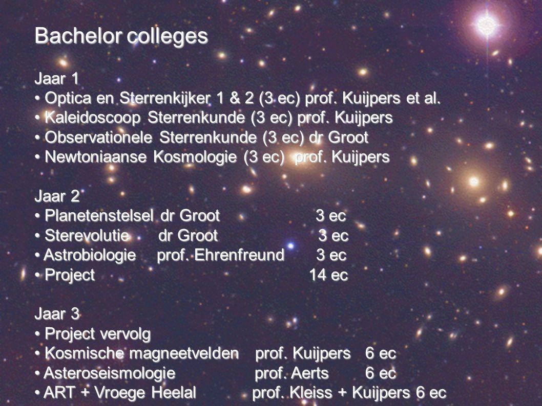 Bachelor colleges Jaar 1 Optica en Sterrenkijker 1 & 2 (3 ec) prof.