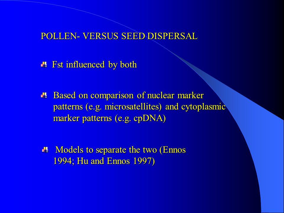 POLLEN- VERSUS SEED DISPERSAL Fst influenced by both Fst influenced by both Models to separate the two (Ennos 1994; Hu and Ennos 1997) Models to separate the two (Ennos 1994; Hu and Ennos 1997) Based on comparison of nuclear marker patterns (e.g.