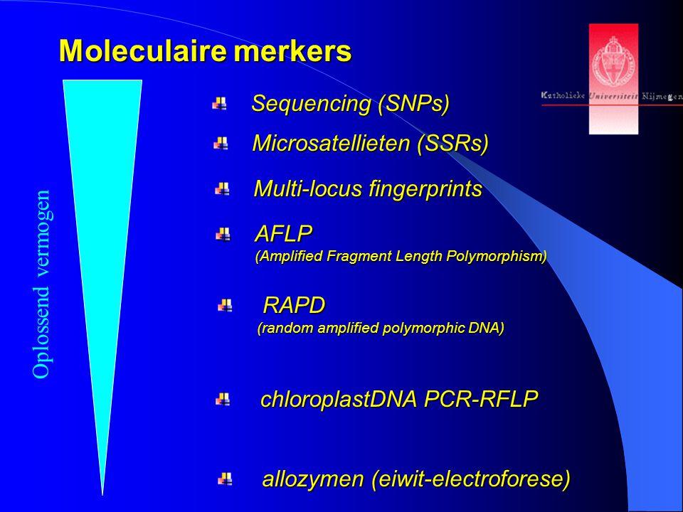 Moleculaire merkers Oplossend vermogen allozymen (eiwit-electroforese) chloroplastDNA PCR-RFLP RAPD (random amplified polymorphic DNA) AFLP (Amplified Fragment Length Polymorphism) Multi-locus fingerprints Microsatellieten (SSRs) Sequencing (SNPs)