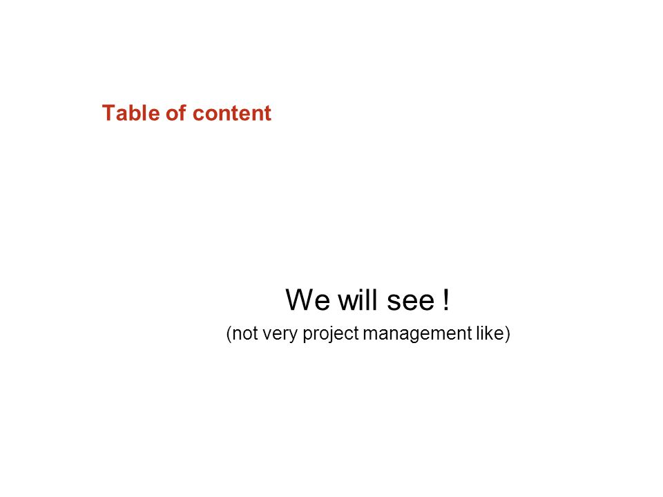Table of content We will see ! (not very project management like)