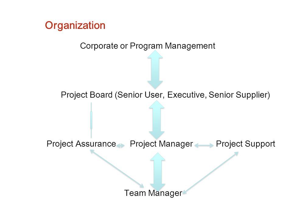Organization Corporate or Program Management Project Board (Senior User, Executive, Senior Supplier) Project Assurance Project Manager Project Support