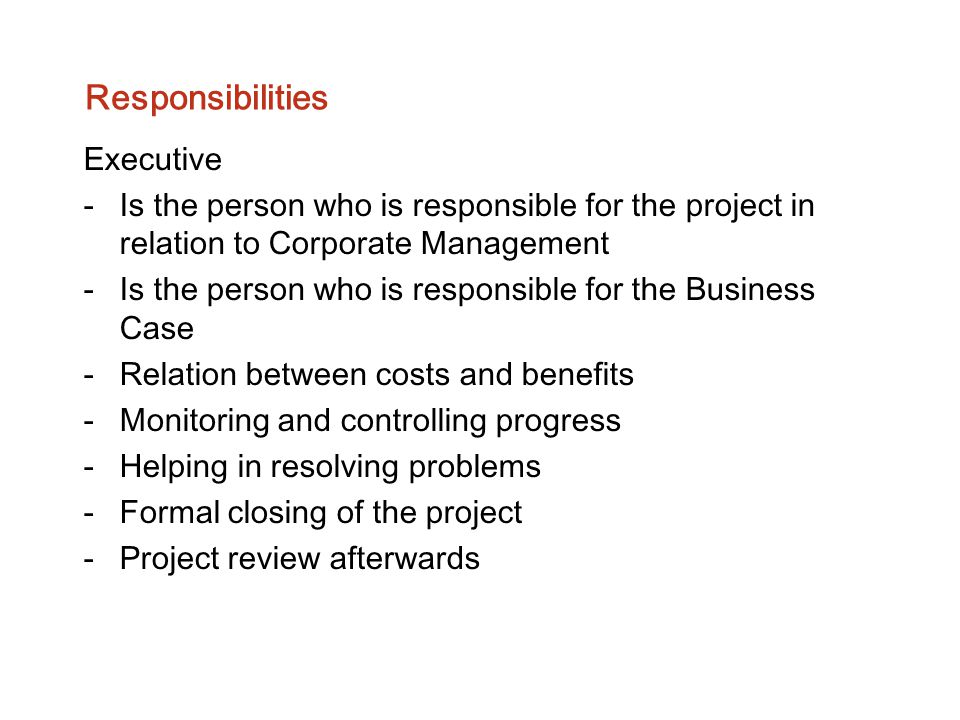 Responsibilities Executive -Is the person who is responsible for the project in relation to Corporate Management -Is the person who is responsible for
