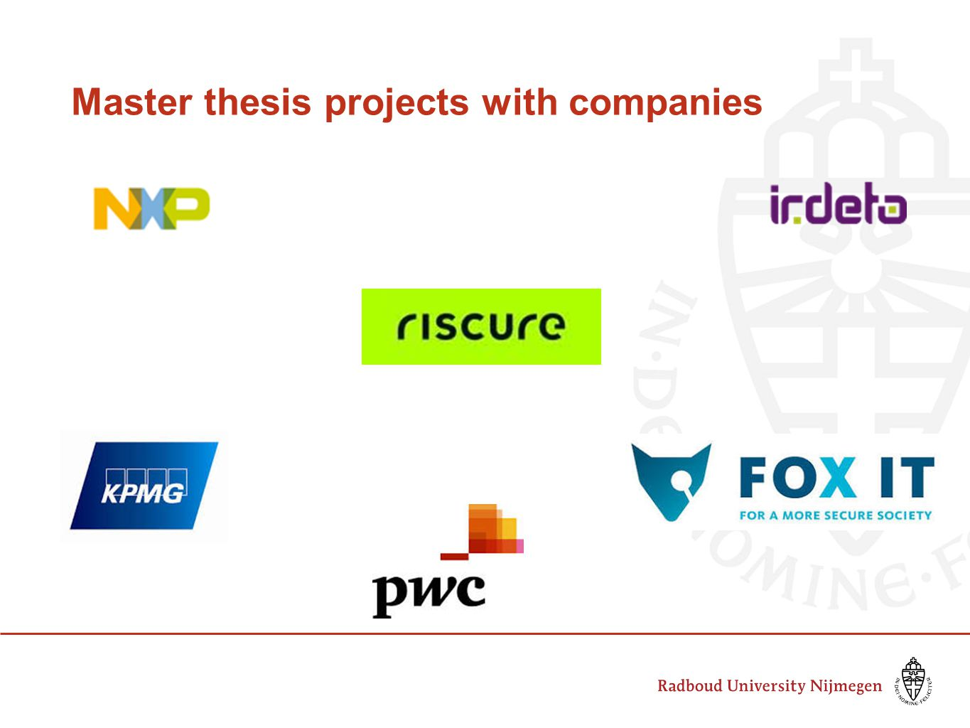 Master thesis projects with companies