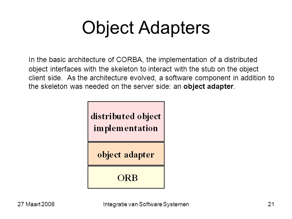 27 Maart 2006Integratie van Software Systemen21 Object Adapters In the basic architecture of CORBA, the implementation of a distributed object interfaces with the skeleton to interact with the stub on the object client side.