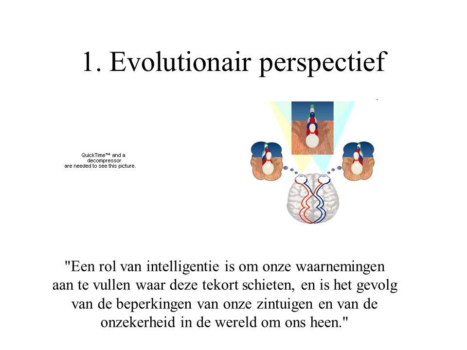Een rol van intelligentie is om onze waarnemingen aan te vullen waar deze tekort schieten, en is het gevolg van de beperkingen van onze zintuigen en van de onzekerheid in de wereld om ons heen. 1.