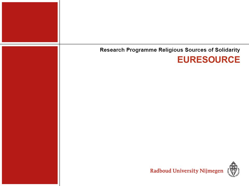 EURESOURCE religious sources of solidarity setting questions aims theory strategy data management planning output Comparative Research of Religion and Solidarity in Europe