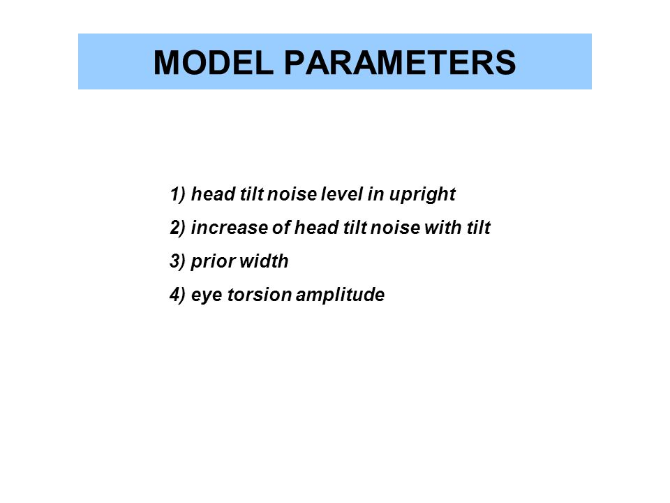 MODEL PARAMETERS 1) head tilt noise level in upright 2) increase of head tilt noise with tilt 3) prior width 4) eye torsion amplitude