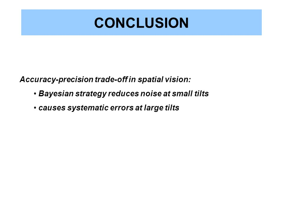 CONCLUSION Accuracy-precision trade-off in spatial vision: Bayesian strategy reduces noise at small tilts causes systematic errors at large tilts