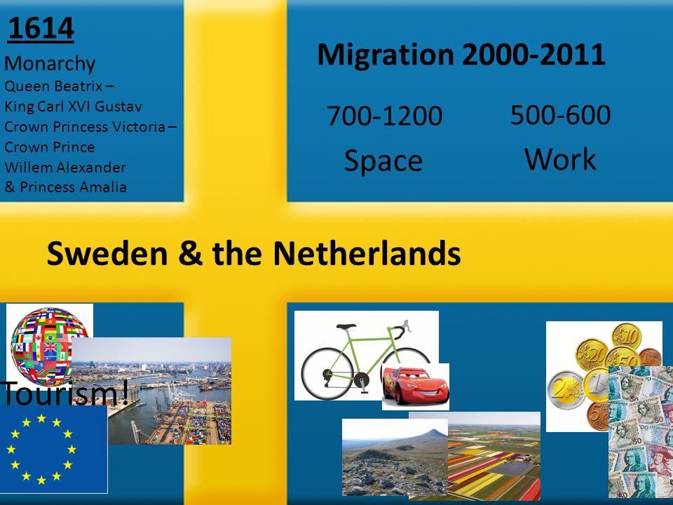 Sweden & the Netherlands Space Migration 2000-2011 Work 700-1200 500-600 Monarchy 1614 Queen Beatrix – King Carl XVI Gustav Crown Princess Victoria – Crown Prince Willem Alexander & Princess Amalia Tourism!