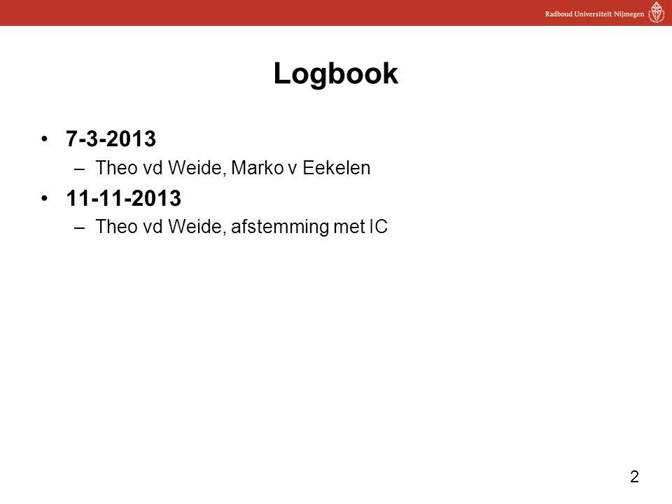 2 Logbook 7-3-2013 –Theo vd Weide, Marko v Eekelen 11-11-2013 –Theo vd Weide, afstemming met IC