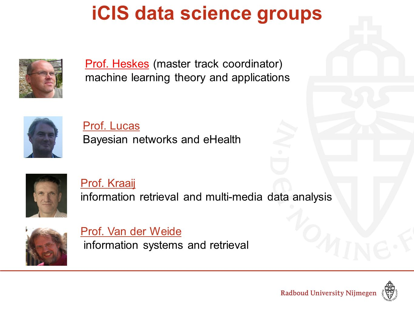 iCIS data science groups Prof.