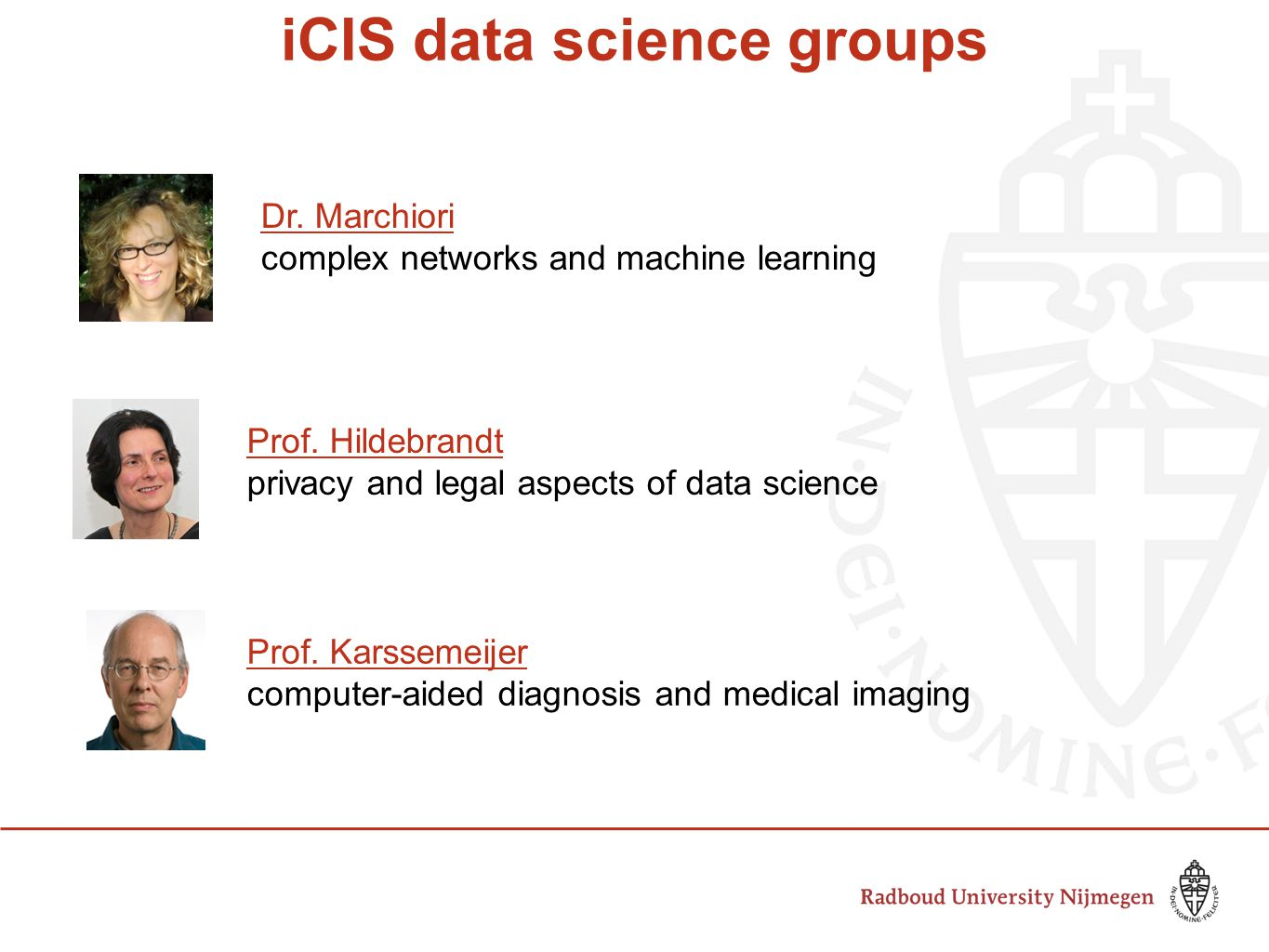 iCIS data science groups Dr. Marchiori complex networks and machine learning Prof.