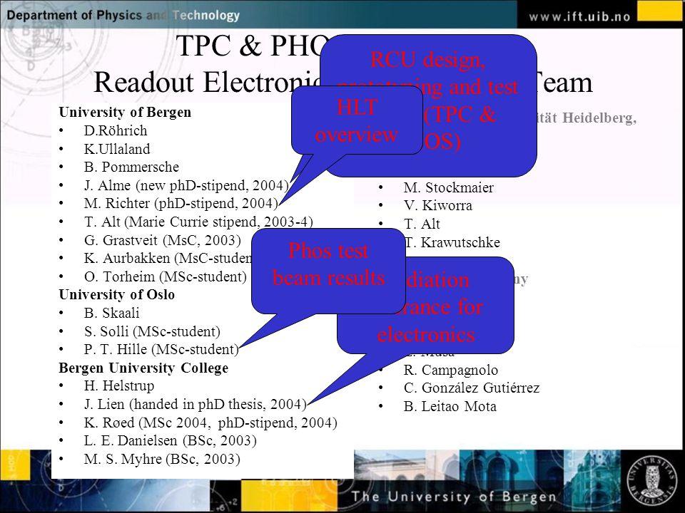 TPC & PHOS RCU + HLT Readout Electronics and Firmware Team Ruprecht-Karls Universität Heidelberg, Germany V.