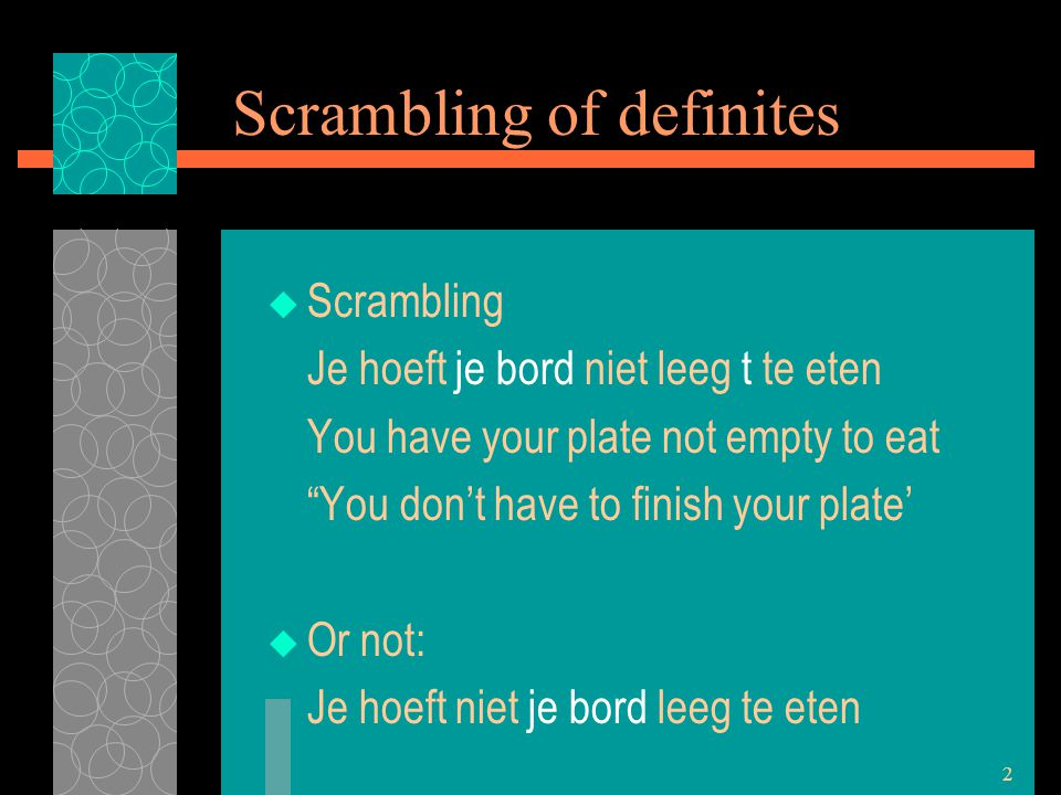 2 Scrambling of definites  Scrambling Je hoeft je bord niet leeg t te eten You have your plate not empty to eat You don't have to finish your plate'  Or not: Je hoeft niet je bord leeg te eten