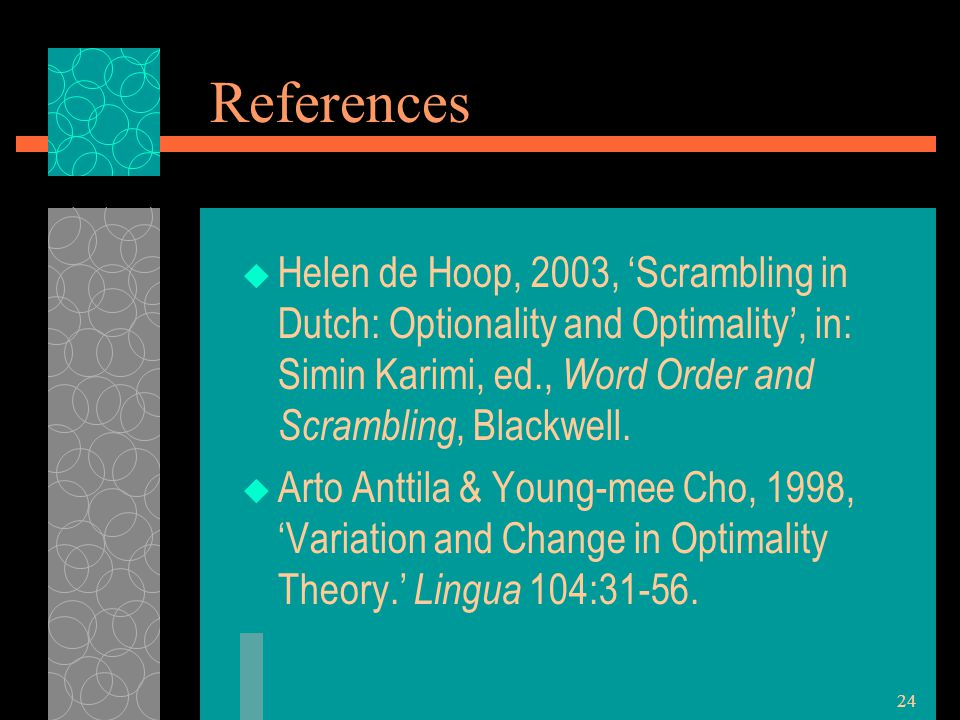 24 References  Helen de Hoop, 2003, 'Scrambling in Dutch: Optionality and Optimality', in: Simin Karimi, ed., Word Order and Scrambling, Blackwell.