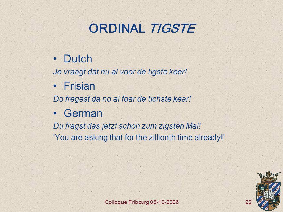 22Colloque Fribourg 03-10-2006 ORDINAL TIGSTE Dutch Je vraagt dat nu al voor de tigste keer.