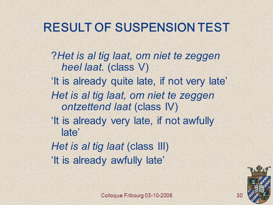 30Colloque Fribourg 03-10-2006 RESULT OF SUSPENSION TEST Het is al tig laat, om niet te zeggen heel laat.