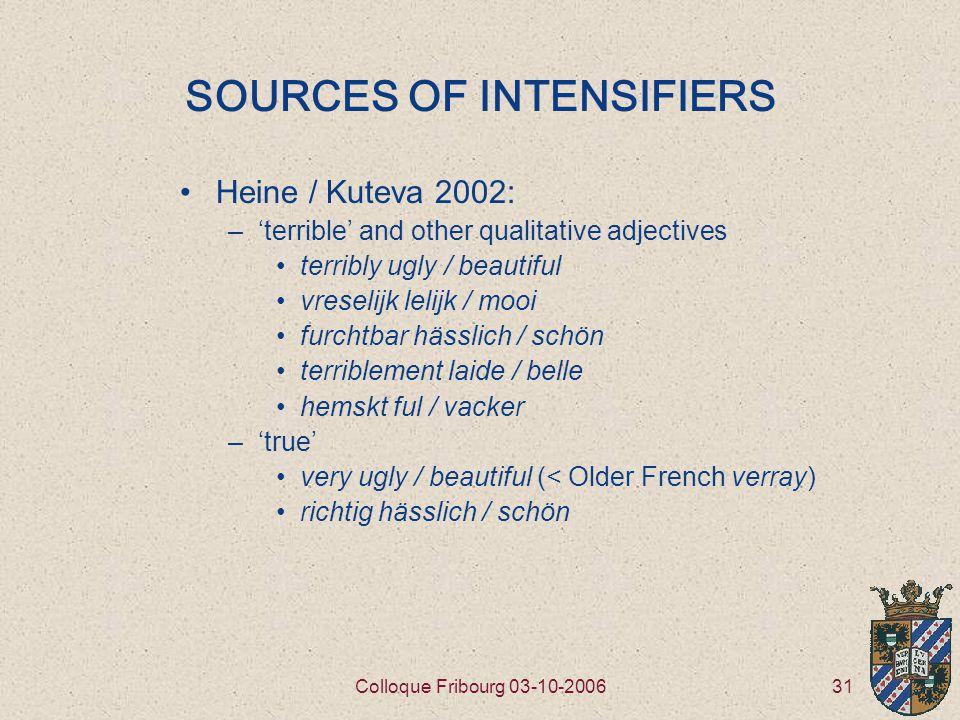 31Colloque Fribourg 03-10-2006 SOURCES OF INTENSIFIERS Heine / Kuteva 2002: –'terrible' and other qualitative adjectives terribly ugly / beautiful vreselijk lelijk / mooi furchtbar hässlich / schön terriblement laide / belle hemskt ful / vacker –'true' very ugly / beautiful (< Older French verray) richtig hässlich / schön