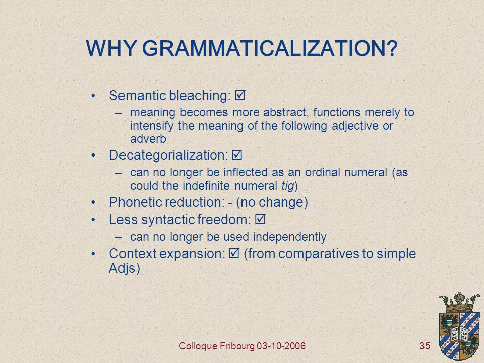 35Colloque Fribourg 03-10-2006 WHY GRAMMATICALIZATION.