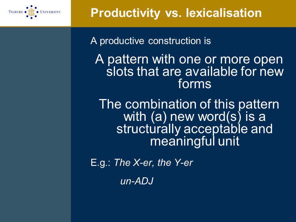 Productivity vs.