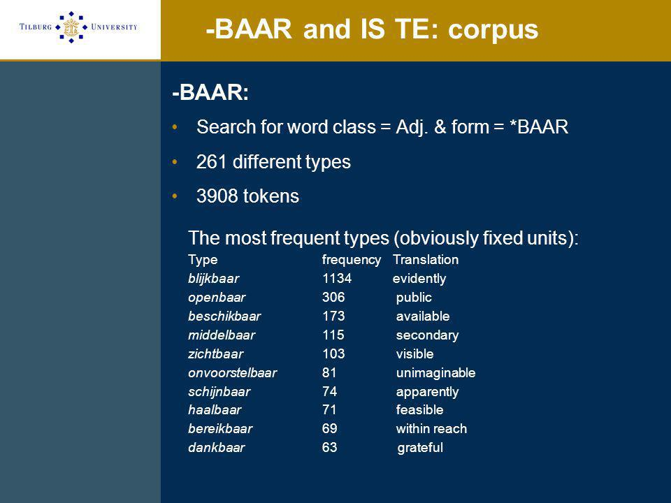 -BAAR and IS TE: experiment IS TE and BAAR over different verb types: adults Acceptable passive = higher acceptability of IS TE (compared to BAAR)