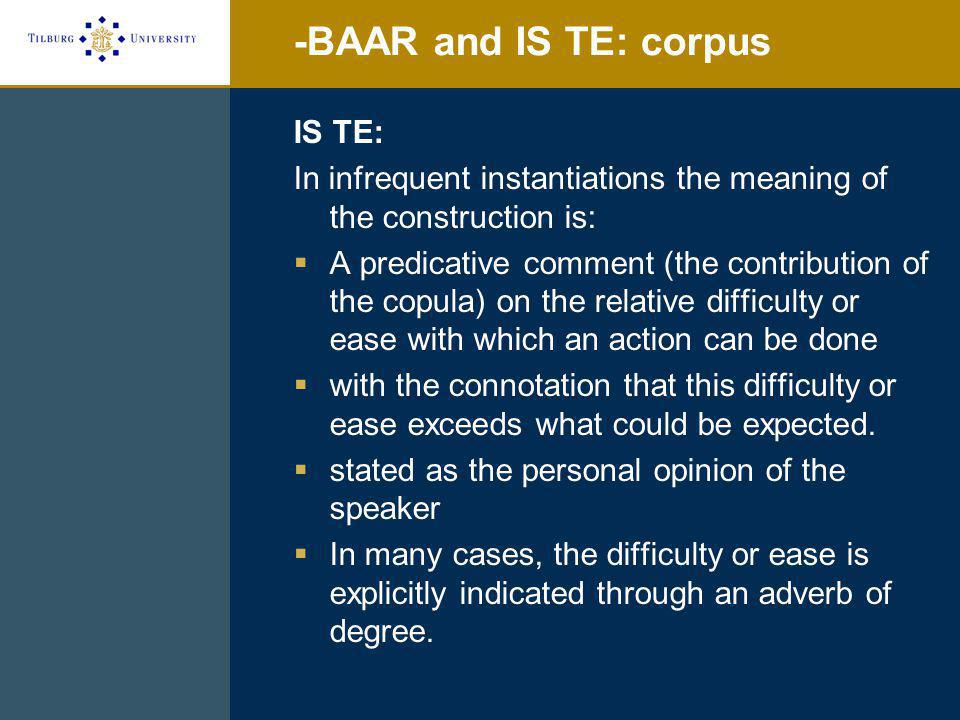 -BAAR and IS TE: experiment V transitive Stimulus Experiencer (N=16) two subgroups: passive ungrammatical (N=8) lukken-succeed E.g.