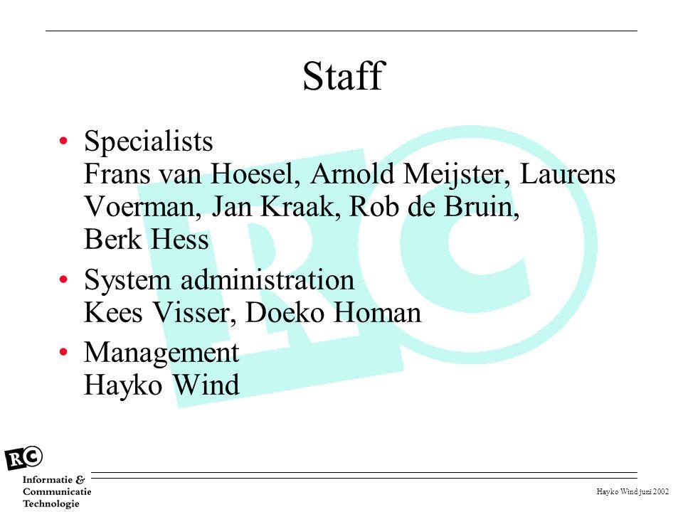 Hayko Wind juni 2002 Staff Specialists Frans van Hoesel, Arnold Meijster, Laurens Voerman, Jan Kraak, Rob de Bruin, Berk Hess System administration Ke