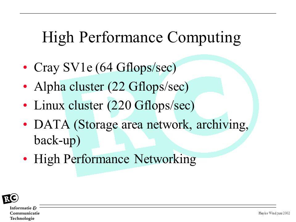 Hayko Wind juni 2002 High Performance Computing Cray SV1e (64 Gflops/sec) Alpha cluster (22 Gflops/sec) Linux cluster (220 Gflops/sec) DATA (Storage a