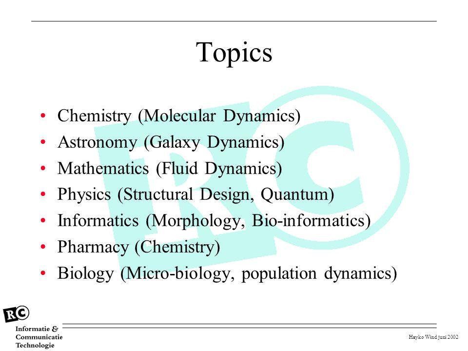 Hayko Wind juni 2002 Topics Chemistry (Molecular Dynamics) Astronomy (Galaxy Dynamics) Mathematics (Fluid Dynamics) Physics (Structural Design, Quantu