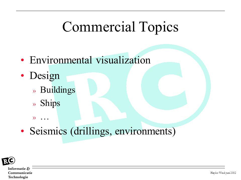Hayko Wind juni 2002 Commercial Topics Environmental visualization Design » Buildings » Ships » … Seismics (drillings, environments)