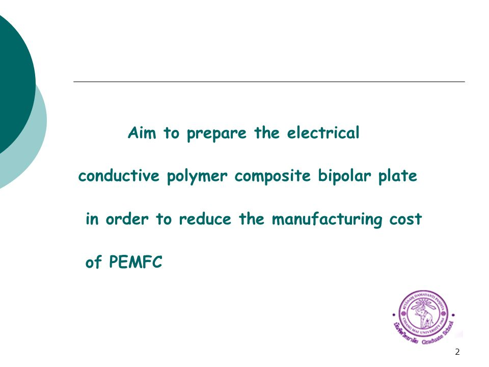2 Aim to prepare the electrical conductive polymer composite bipolar plate in order to reduce the manufacturing cost of PEMFC