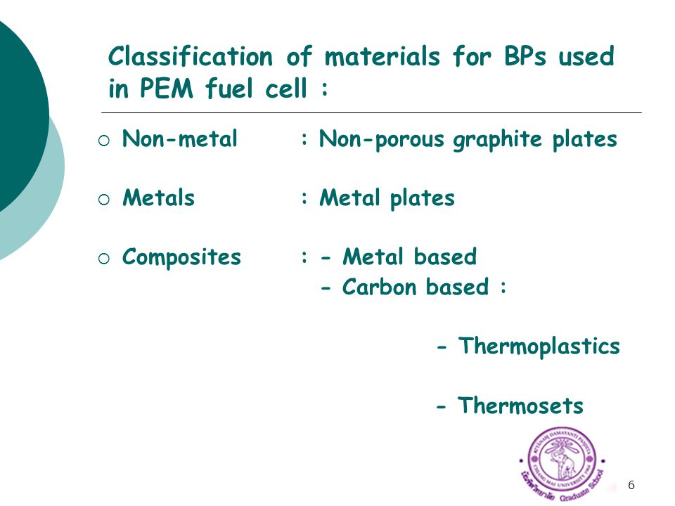 6 Classification of materials for BPs used in PEM fuel cell :  Non-metal: Non-porous graphite plates  Metals: Metal plates  Composites: - Metal bas