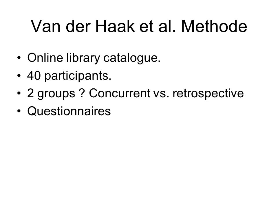 Van der Haak et al. Methode Online library catalogue.
