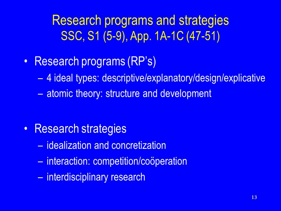 13 Research programs and strategies SSC, S1 (5-9), App.