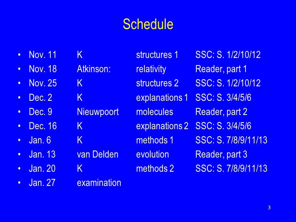 3 Schedule Nov. 11Kstructures 1 SSC: S. 1/2/10/12 Nov.