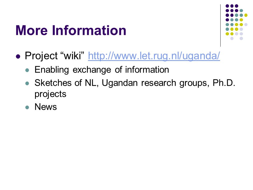More Information Project wiki http://www.let.rug.nl/uganda/http://www.let.rug.nl/uganda/ Enabling exchange of information Sketches of NL, Ugandan research groups, Ph.D.