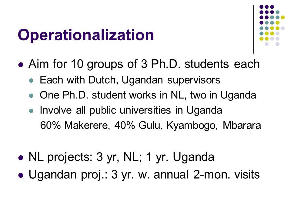 Operationalization Aim for 10 groups of 3 Ph.D.