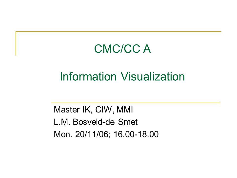CMC/CC A Information Visualization Master IK, CIW, MMI L.M. Bosveld-de Smet Mon. 20/11/06; 16.00-18.00