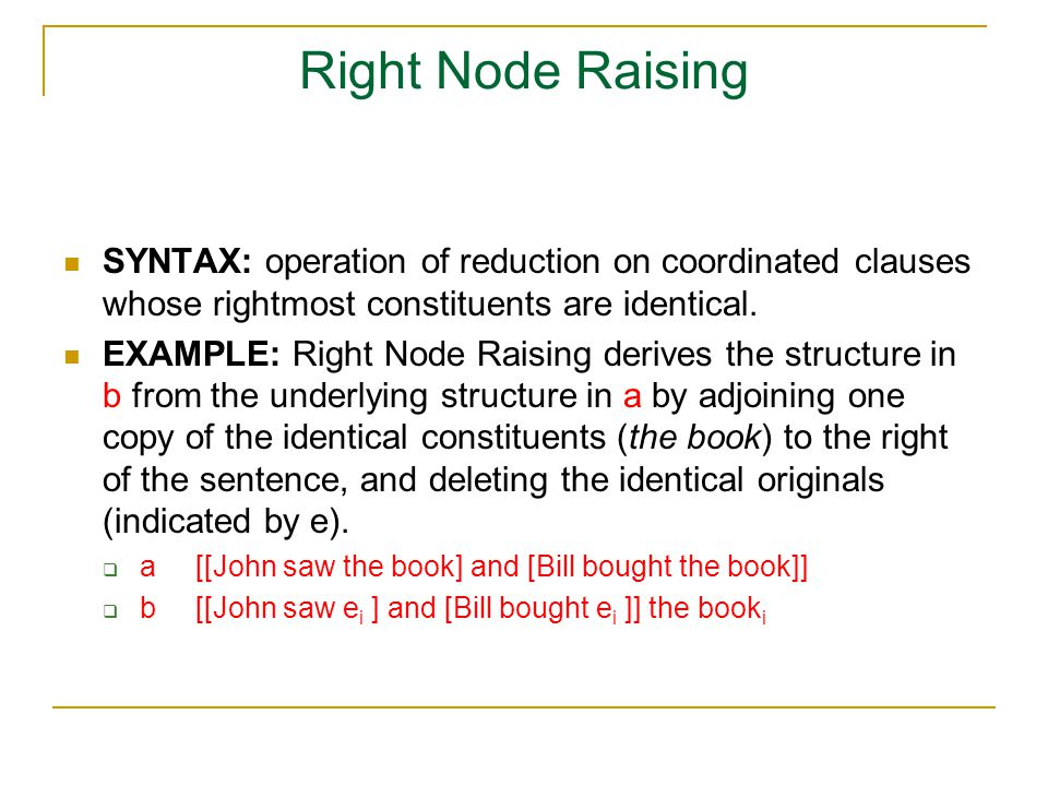 Right Node Raising SYNTAX: operation of reduction on coordinated clauses whose rightmost constituents are identical.