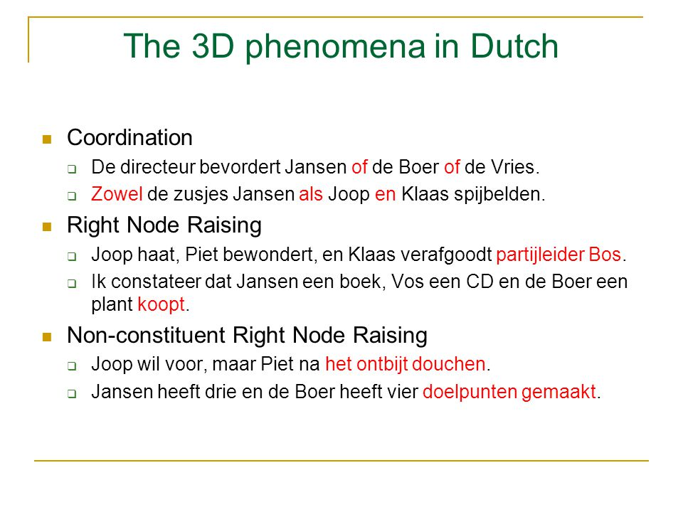 The 3D phenomena in Dutch Coordination  De directeur bevordert Jansen of de Boer of de Vries.