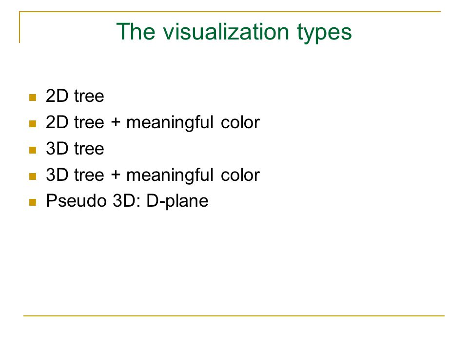 The visualization types 2D tree 2D tree + meaningful color 3D tree 3D tree + meaningful color Pseudo 3D: D-plane