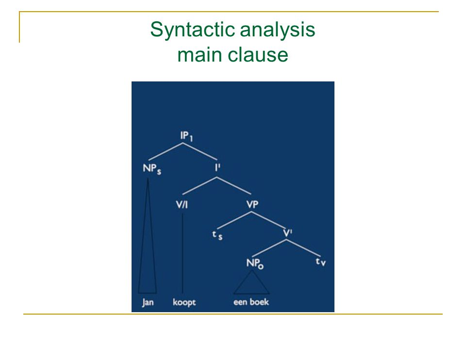 Syntactic analysis main clause