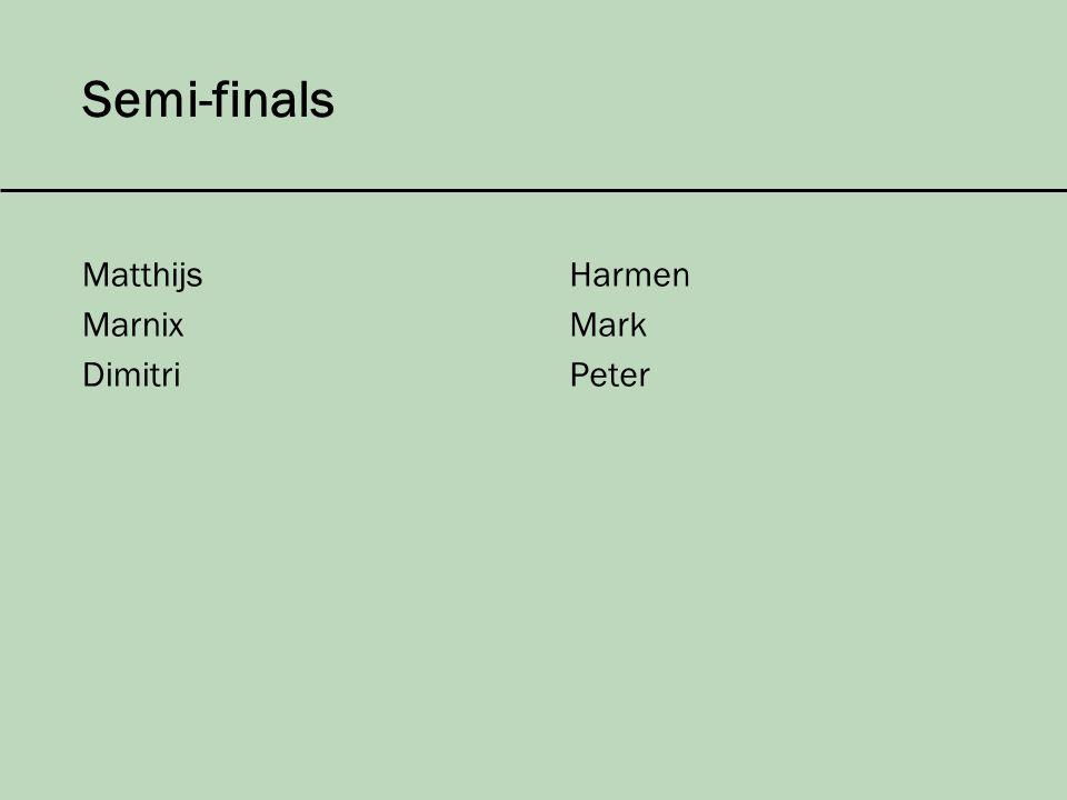 Semi-finals Matthijs Marnix Dimitri Harmen Mark Peter
