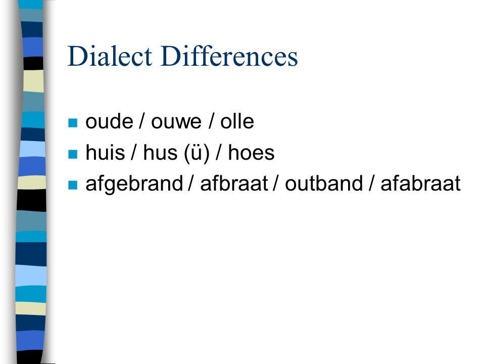Dialect Differences n oude / ouwe / olle n huis / hus (ü) / hoes n afgebrand / afbraat / outband / afabraat